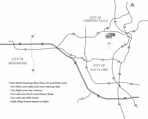 Map to Hallie Ridge Estates